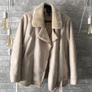 Aviator faux fur lined jacket
